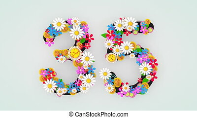 """""""Numerical digit floral animation, 35."""""""