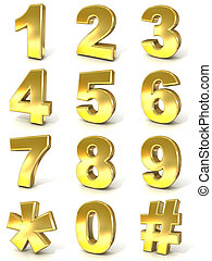 Numerical digits collection, 0 - 9, plus hash tag and ...