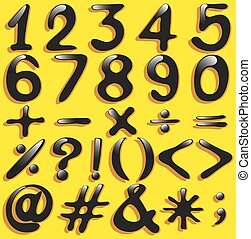Set of numerical figures and mathematical operations on a yellow background