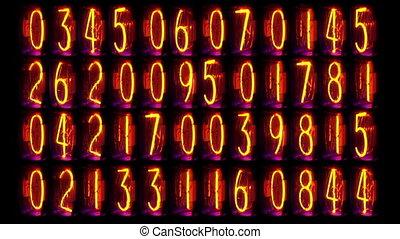 numeriek, oud, opeenvolging, buis, toonbank, getal, nixie, filmed, klok