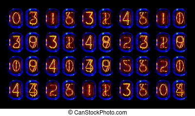 numeriek, oud, opeenvolging, buis, toonbank, getal, nixie,...