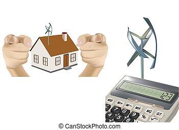 numeriek, wind, rekenmachine, turbine