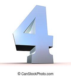 numero, -, 4, argento