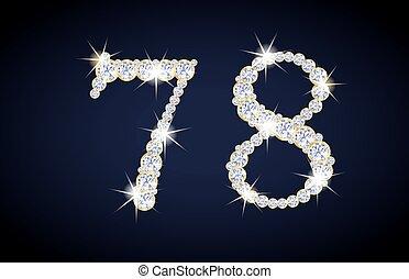 numero 7, e, 8, composto, da, diamanti, con, dorato, frame., completo, alfanumerico, set.