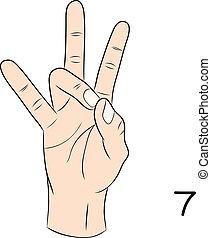 numero 7, lingua segno
