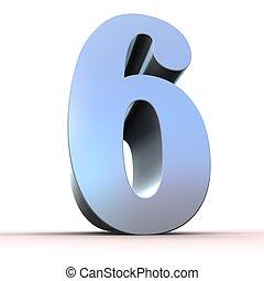 numero, -, argento, 6