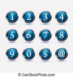 numero, bottoni, set