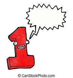 numero, cartone animato, uno