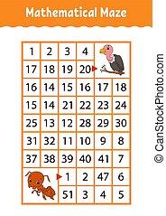 numero, characters., attività, matematico, vulture., worksheet., page., gioco, indovinello, rettangolo, maze., cartone animato, formica, children., educazione, labyrinth., kids.