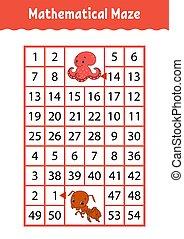numero, characters., attività, matematico, worksheet., ant., gioco, page., indovinello, rettangolo, maze., cartone animato, polpo, children., educazione, labyrinth., kids.