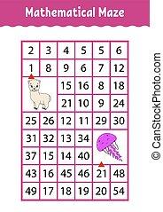 numero, characters., attività, matematico, worksheet., page., gioco, indovinello, jellyfish., rettangolo, maze., cartone animato, children., educazione, labyrinth., alpaca, kids.