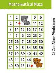 numero, characters., attività, matematico, worksheet., page., gioco, indovinello, rettangolo, bear., maze., lupo, cartone animato, children., educazione, labyrinth., kids.