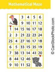 numero, characters., attività, matematico, worksheet., page., gioco, indovinello, rettangolo, maze., cartone animato, avvoltoio, children., educazione, labyrinth., wolf., kids.