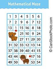 numero, characters., attività, matematico, worksheet., page., gioco, indovinello, rettangolo, maze., orso, yak., cartone animato, children., educazione, labyrinth., kids.