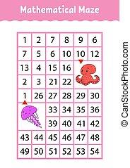 numero, characters., octopus., attività, matematico, medusa, worksheet., page., gioco, indovinello, rettangolo, maze., cartone animato, children., educazione, labyrinth., kids.