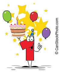 numero, compleanno, uno, torta