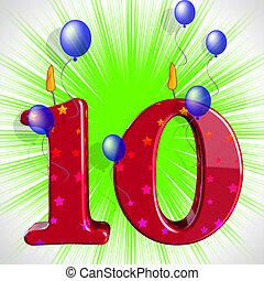 numero, dieci, festa, media, numerale, candele, o,...