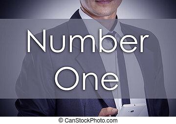 numero, -, giovane, uomo affari, con, testo, -, concetto affari