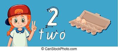 numero, guida, due, scrittura