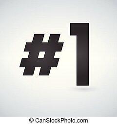 numero, isolato, uno, fondo., vettore, nero, illustrazioni, logotipo, bianco, sagoma