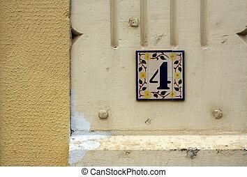 numero quattro, scudo, su, intonacare, wall.