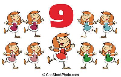 numero, rosso, nove