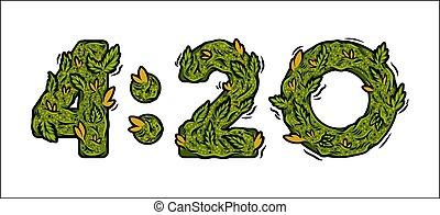 numero, tempo, 420, iscrizione, disegno, erbaccia