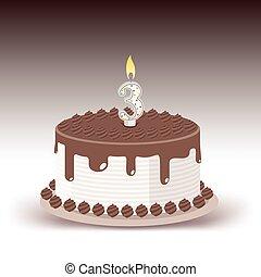 numero tre, luminoso, torta compleanno, candela