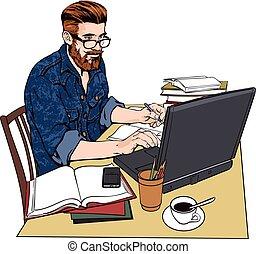 numero, uomo, work., giacca, grande, documenti, jeans, hipster