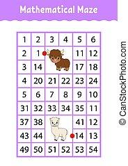 numero, yak, characters., attività, matematico, worksheet., page., gioco, alpaca., indovinello, rettangolo, maze., cartone animato, children., educazione, labyrinth., kids.
