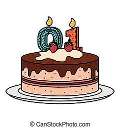 numero, zero, delizioso, torta, candela, celebrazione