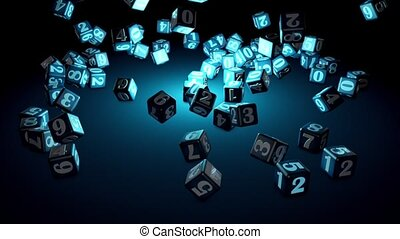 Numerology (falling cubes with numbers create a magic circle). Depth of field. Artistic dark turquoise background. 3D animation. Quick Time, h264,16-bit color, highest quality. Smooth gradation of color, without banding effect.