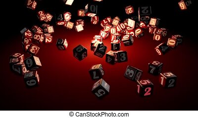 Numerology (falling cubes with numbers create a magic circle). Depth of field. Artistic red background. 3D animation. Quick Time, h264,16-bit color, highest quality. Smooth gradation of color, without banding effect.