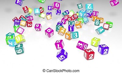 Numerology (falling cubes with numbers create a magic circle). Depth of field. White background. 3D animation. Quick Time, h264,16-bit color, highest quality. Smooth gradation of color, without banding effect.