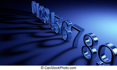 Numerology (secret knowledge about the numbers). The numbers are in a row (0123456789). Artistic lighting. Depth of field. 3D animation. Quick Time, h264,16-bit color, highest quality. Smooth gradation of color, without banding effect.