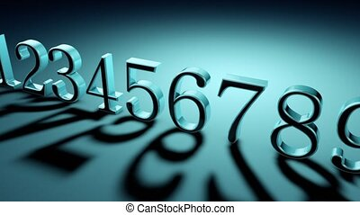 Numerology (secret knowledge about the numbers). The numbers are in a row (0123456789). Simultaneous movement of camera and light source. Depth of field. Artistic dark turquoise background. 3D animation. Quick Time, h264, 16-bit color, highest quality. Smooth gradation of color, without banding ...
