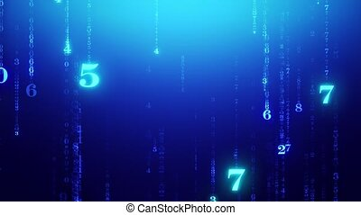 Numerology (secret knowledge about the numbers). The numbers flash and fall down against a mysterious background. Luminous numbers leave a trail of their own ...