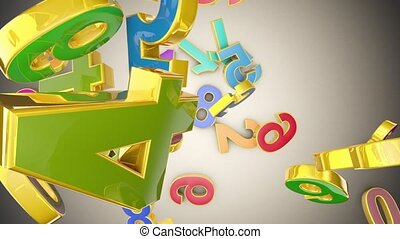 Numerology (secret knowledge of numbers). Gold multi-colored numbers. Mathematical background. 3D animation.