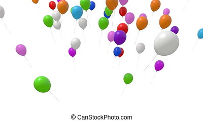 Numerous Balloons Fly Up on a White Background. Beautiful 3d...