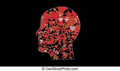 Numerous red brown and white hearts fly inside human head having crush on deep black background computer generated imagery