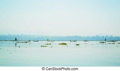 Numerous local fishermen. Burma, Inle Lake - Video 1920x1080...