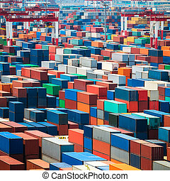 shipping containers in port - numerous shipping containers...