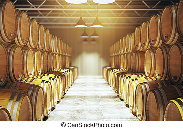 Numerous wine barrels