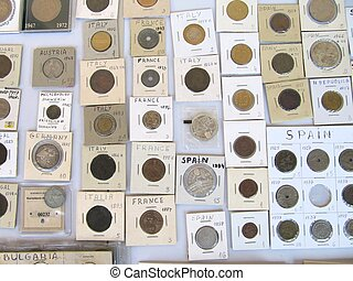 Numismatics, coins collection.