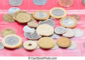 numismatik, album, med, olik, mynter
