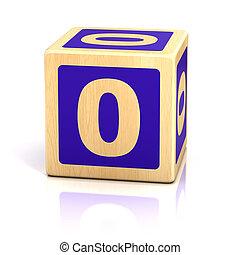 nummeer nul, nul, houten blokken, lettertype