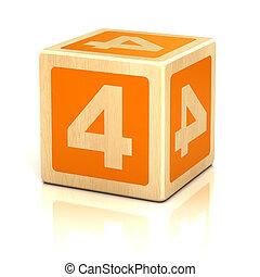 nummeer vier, 4, houten blokken, lettertype