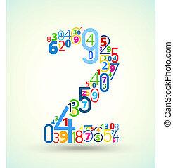 nummer 2, gekleurde, vector, lettertype, van, getallen