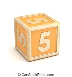 nummer 5, vijf, houten alfabet belemmert, lettertype, rotated., 3d