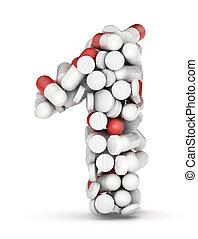 nummerer 1, alfabet, af, pillerne